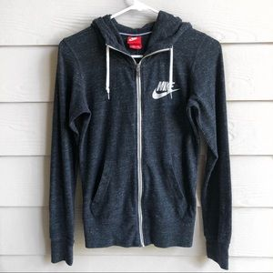 Nike Grey Heathered Zip Hoodie Sweater | XS